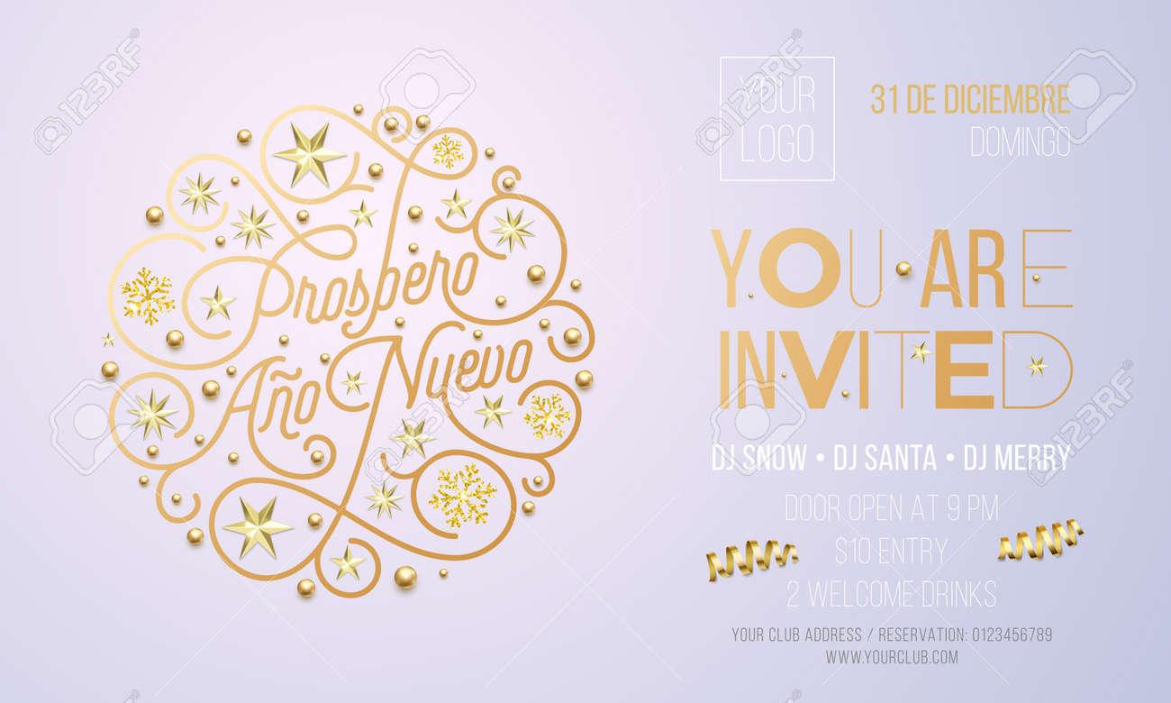 Spanish New Year Party Invitation For Holiday Celebration Design