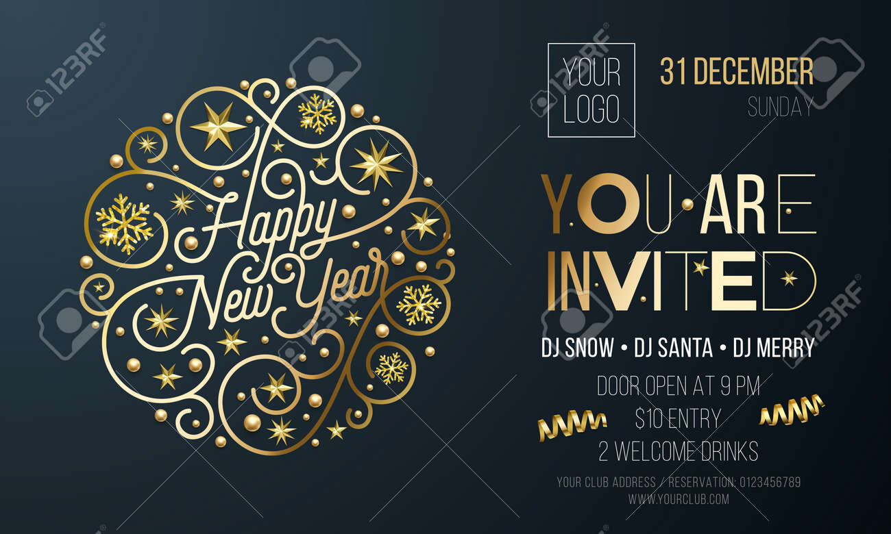 invitation for new year party of golden decoration for holiday event card or poster design template