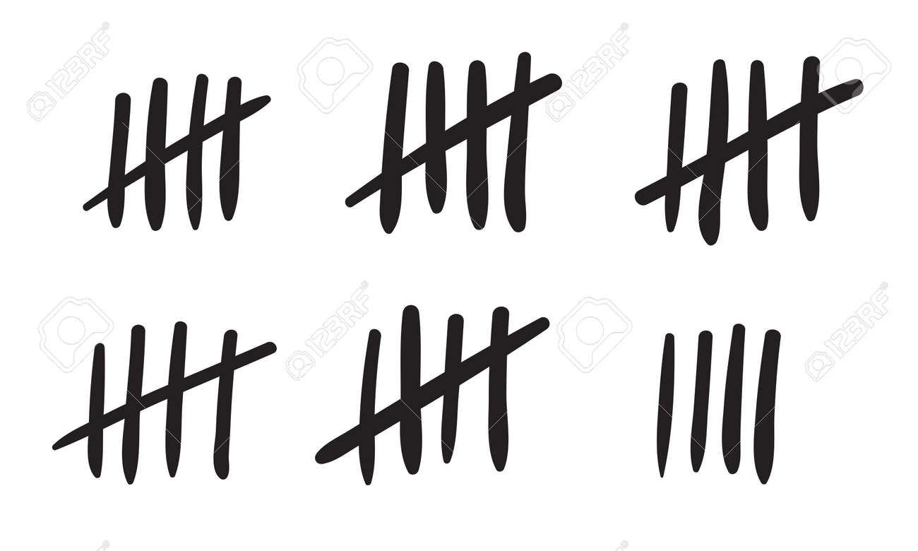 tally marks count or prison wall sticks lines counter vector