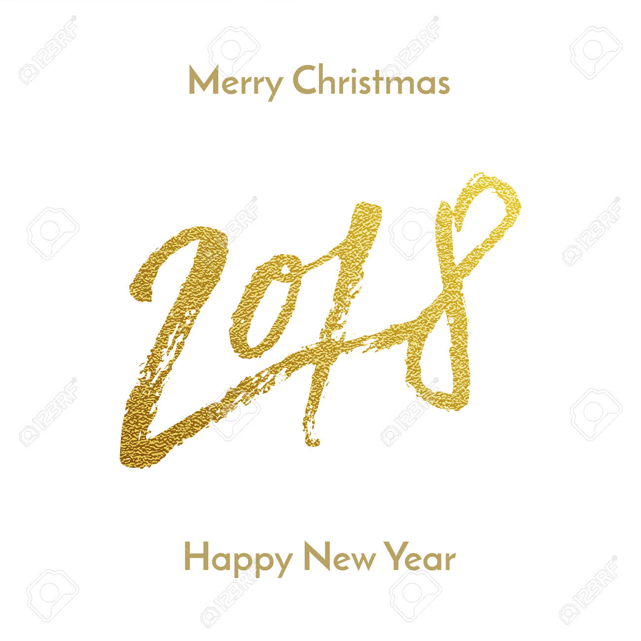 merry christmas 2018 happy new year golden glitter calligraphy lettering font for greeting card design template