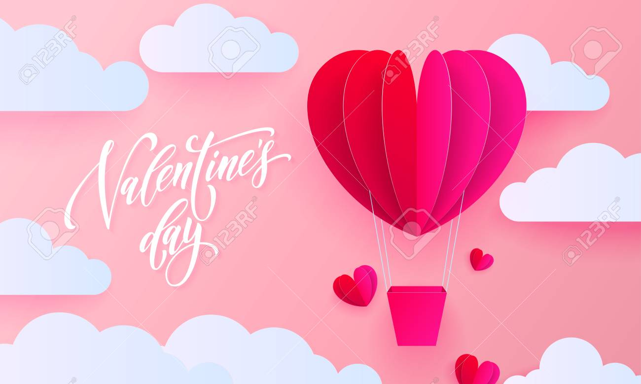 Valentines Day Greeting Card Of Valentine Paper Heart Balloon