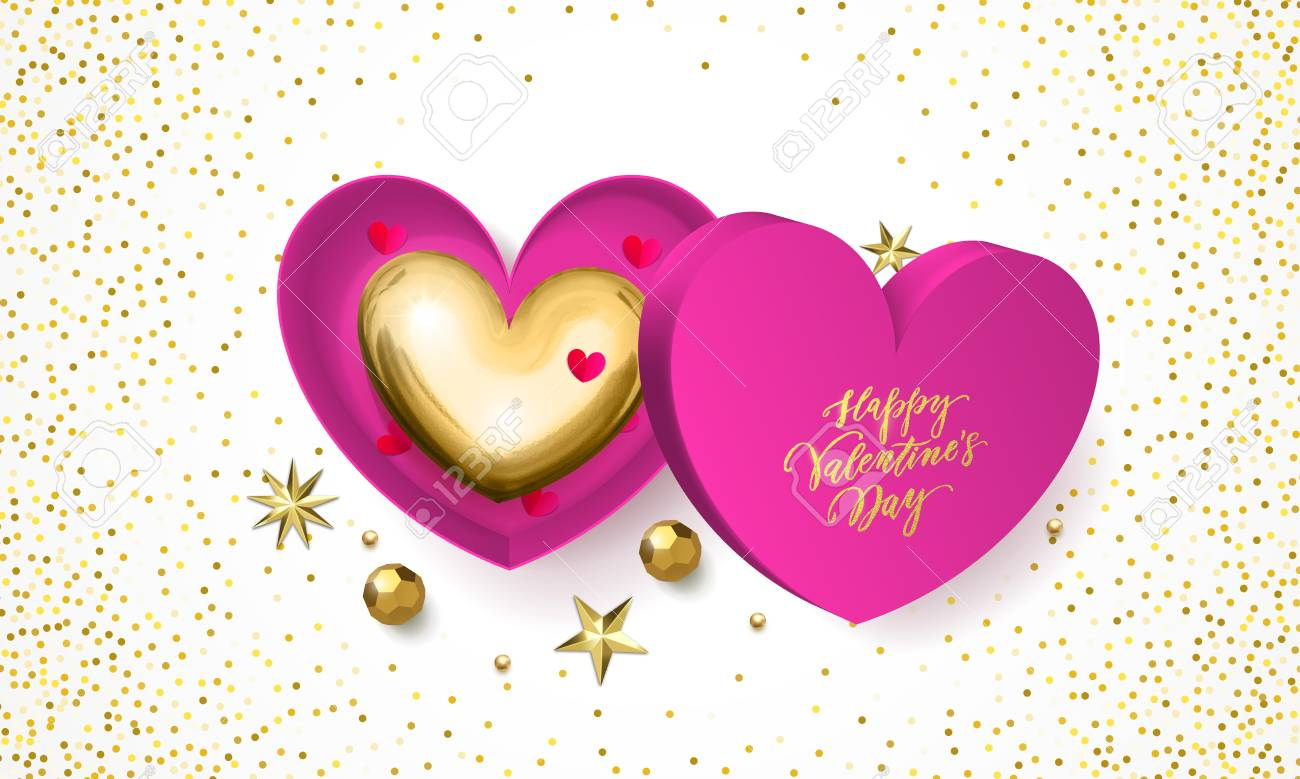 Valentines Day Greeting Card Of Heart Gift Box Decoration With
