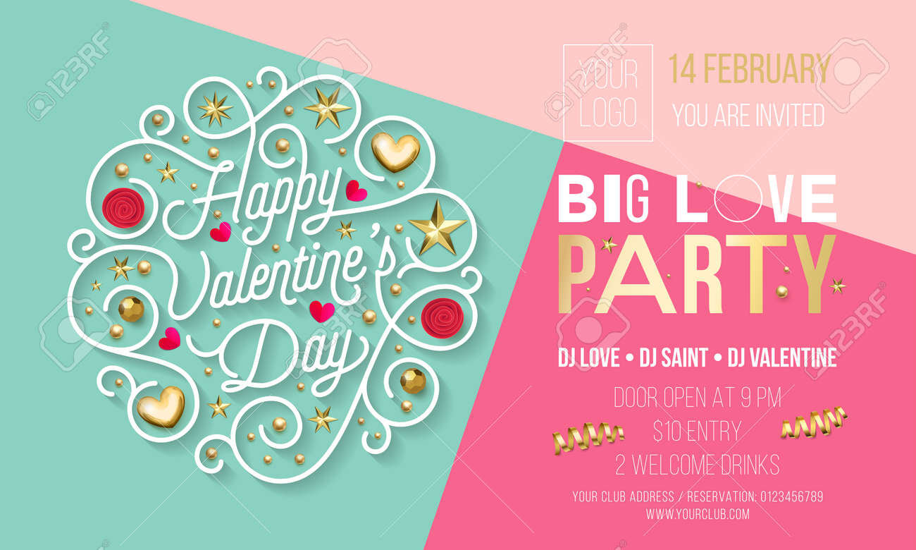 Valentine Day Party Invitation Design Template Of Golden Text