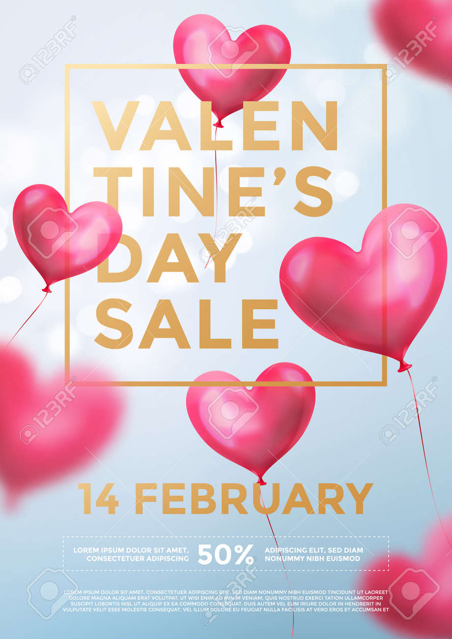 Valentine Day Sale Web Banner Of Red Heart Balloons In Light