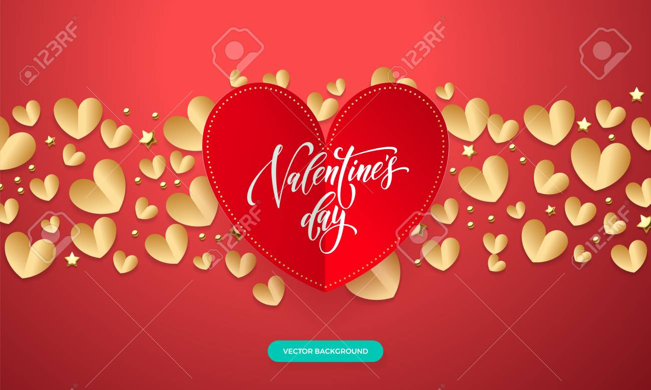 Wedding Background Template Design Vector Valentines With Romantic Red And Gold Paper Cut Heart Pattern Calligraphy Lettering Text