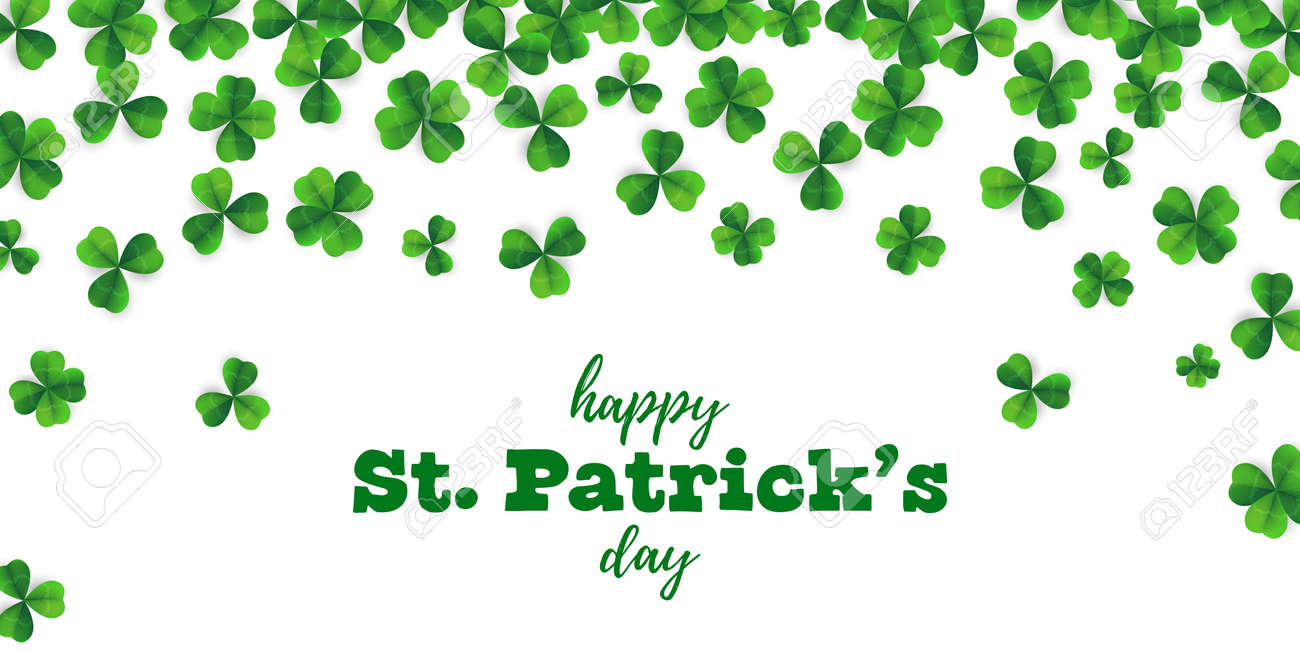 Patrick Day Background With Vector Four Leaf Clover Pattern Background