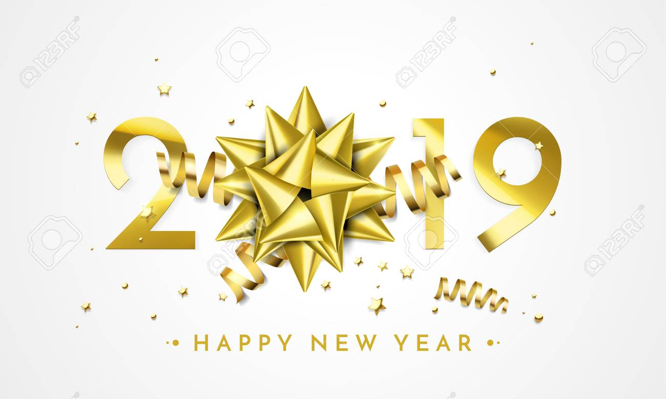 2019 Happy New Year greeting card of golden gift bow decoration. Vector sparkling glitter stars confetti for Christmas holiday celebration on black premium background - 105601510