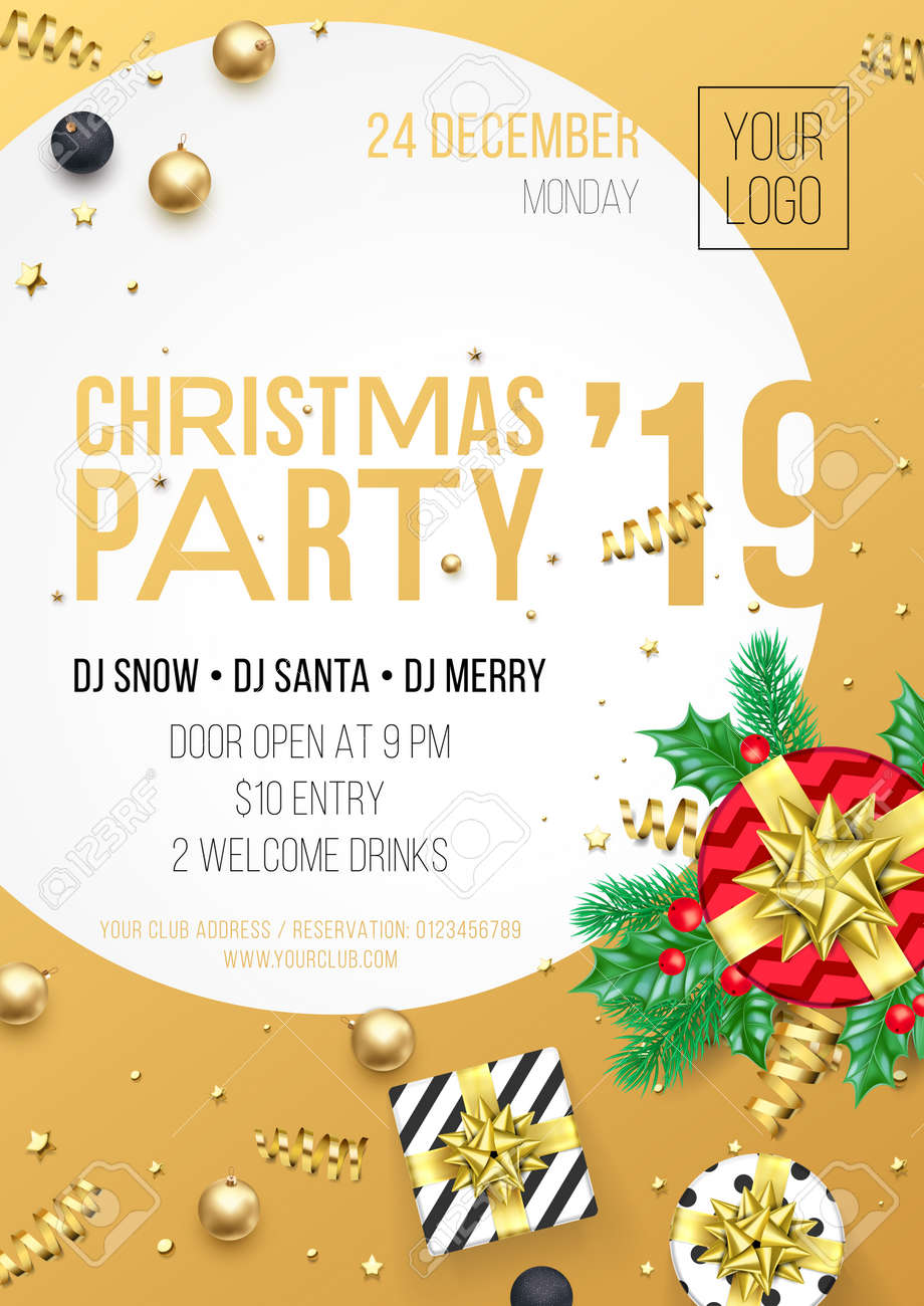 Christmas Party 2019 Clipart.Christmas Party Invitation Poster Or Card For 2019 Happy New