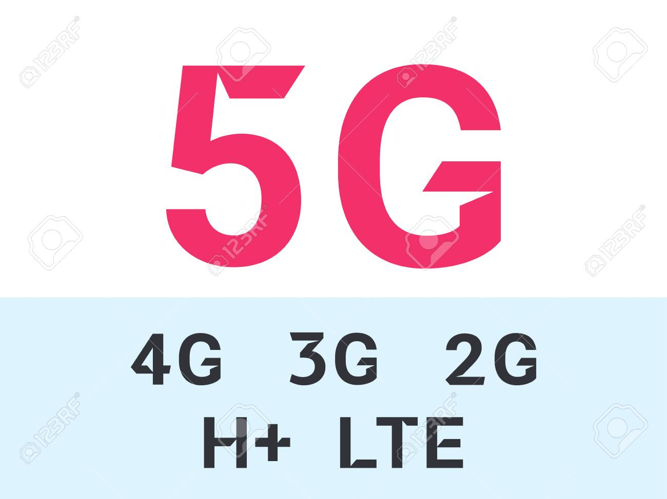 5G internet network vector logos for high speed LTE 4G, 3G or