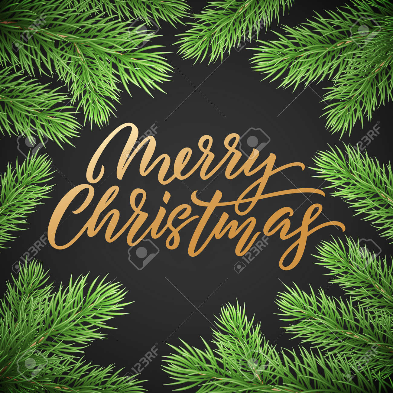Gold Christmas text card on black background with green Christmas trees branches. Golden xmas text - 128168094