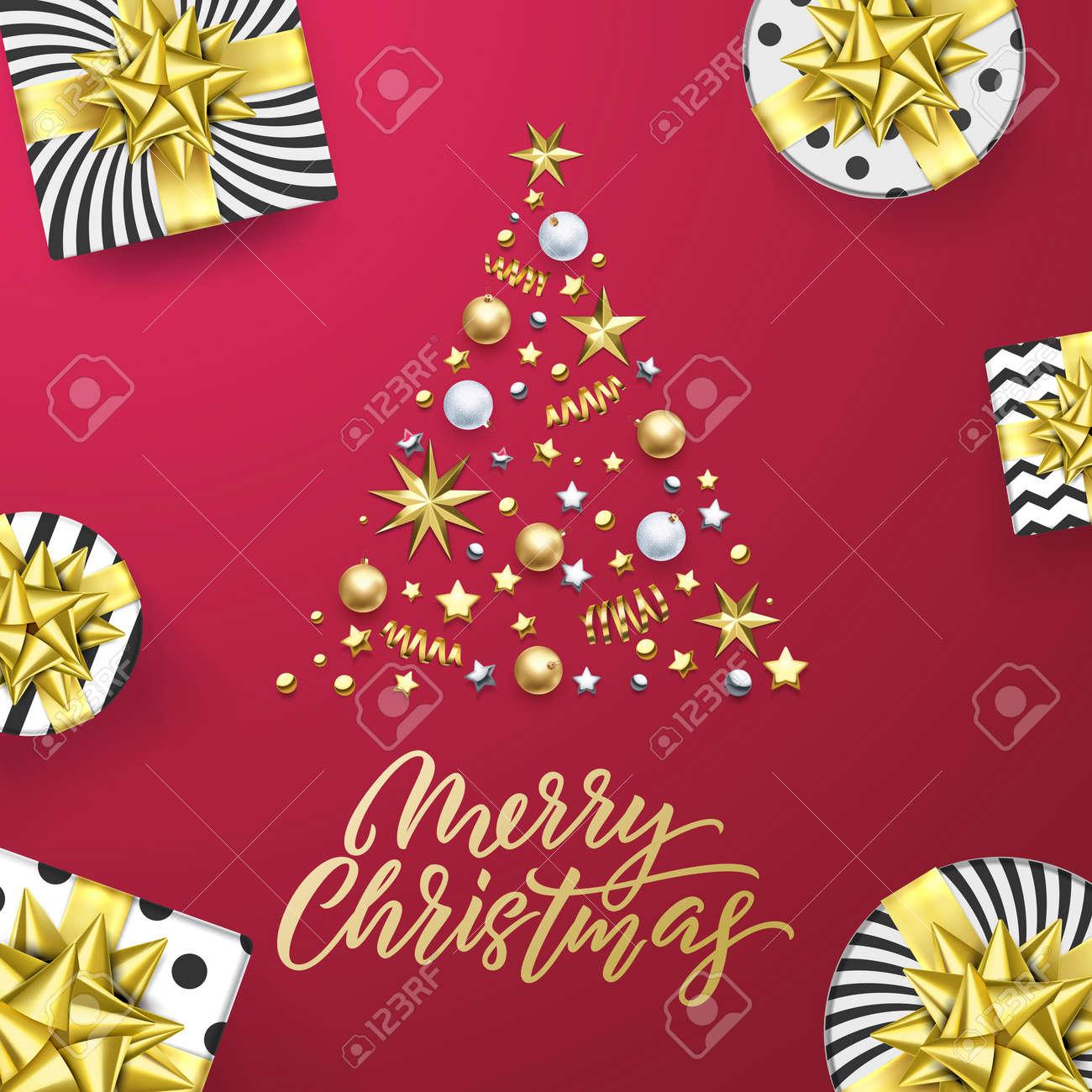 Glitter Christmas Tree /& Presents Unused Christmas Greeting Card Image Arts