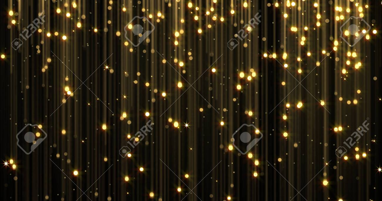 Golden rain, gold glitter particles with magic light sparks falling. Glowing glittering Christmas background, shiny sparkling and flowing light threads, luxury gold shimmer glare - 132053508