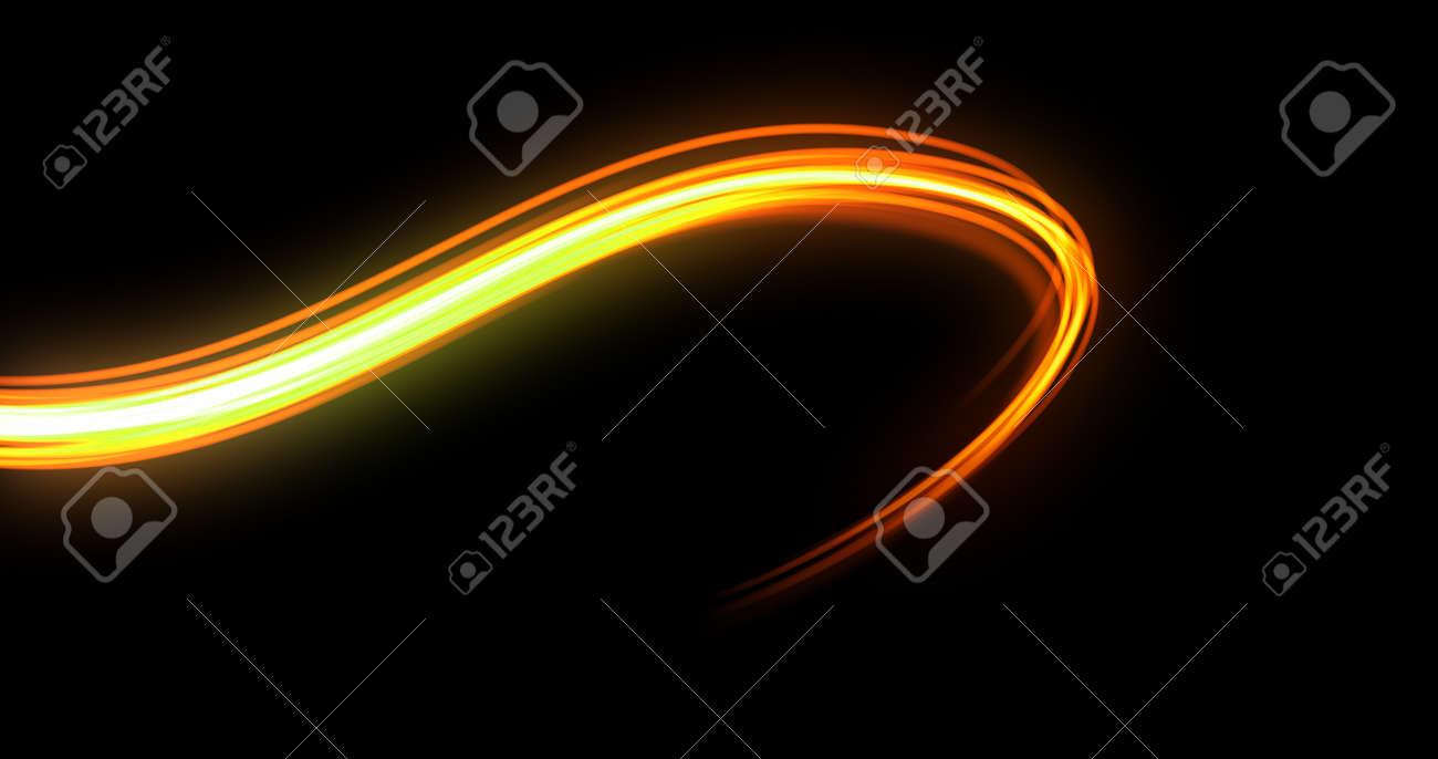 Light wave trail path, orange yellow neon glowing flash spin trace. Car lights glow effect, optic fiber and magic bright light flare in motion curve swirl on black background - 137001148