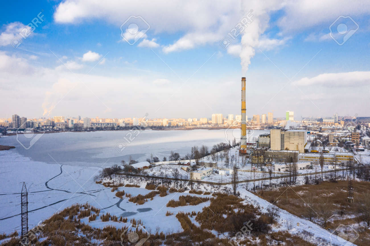 Garbage incineration plant at the winter aerial panorama view. - 163017729