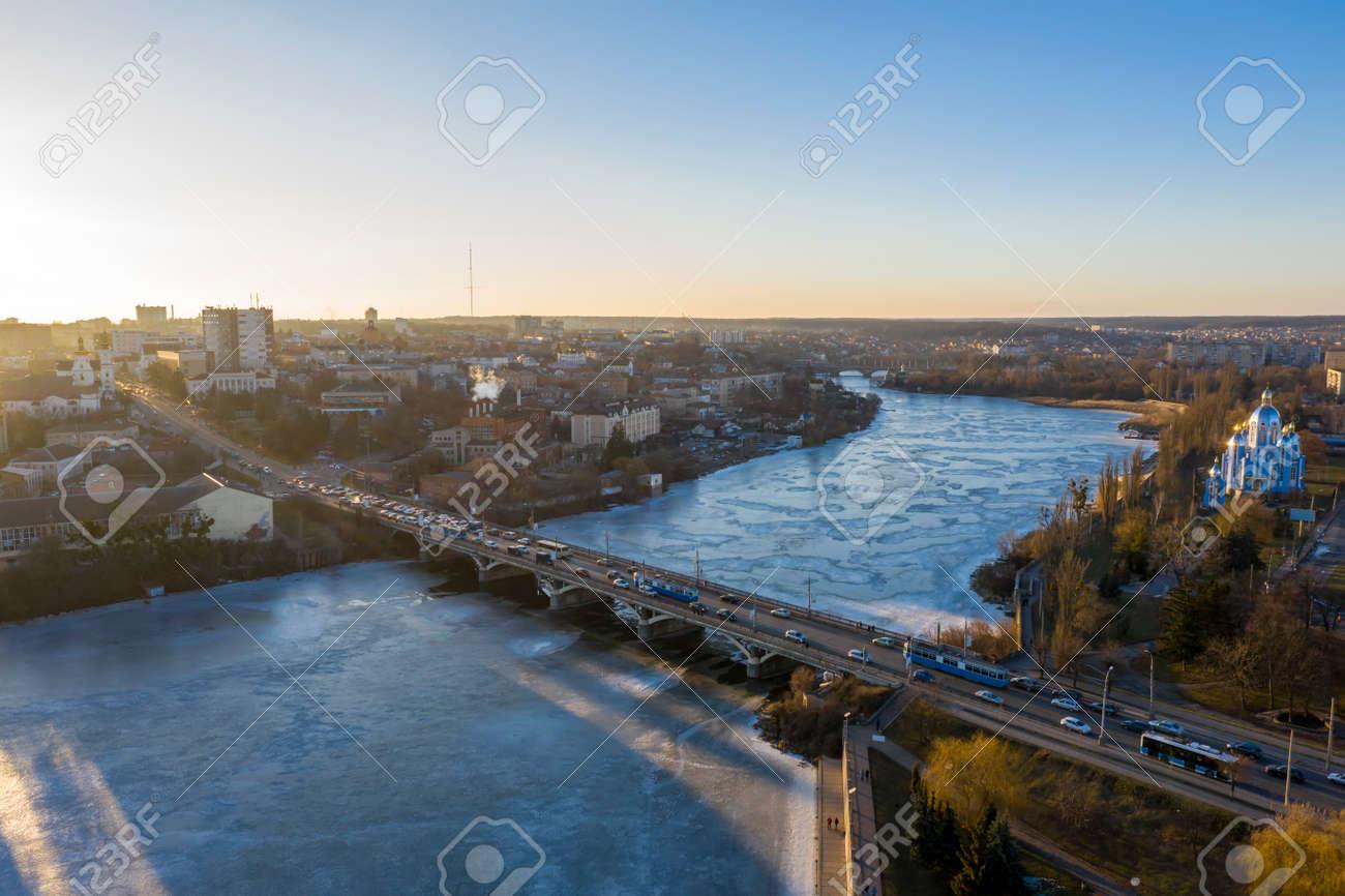The Vinnytsia city in Ukraine at the winter aerial sunset view. - 165107053