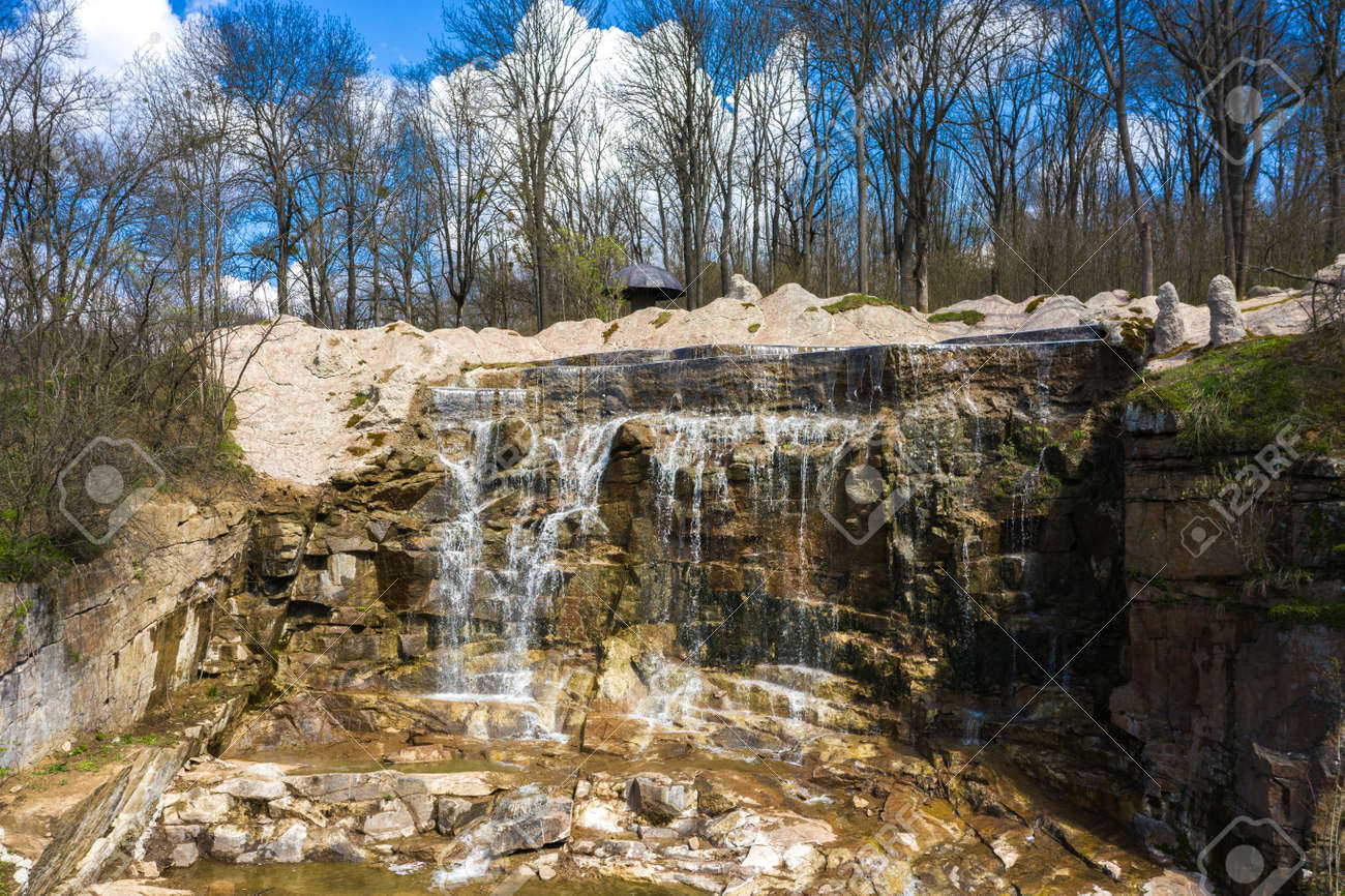 Beautiful cascade waterfall in Sofiyivka park in Uman, Ukraine - 170818669