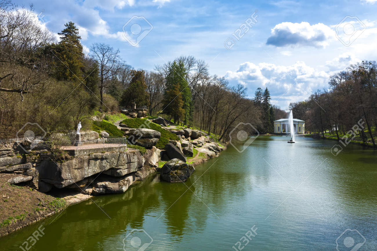 Landscape lake with fountain in the park of Sophia aerial view. - 170818674