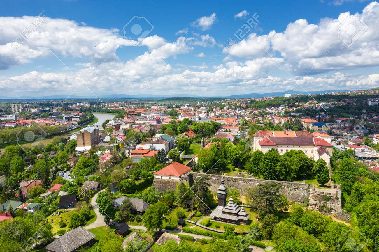 Castle in Uzhgorod aerial panorama city view - 170818678