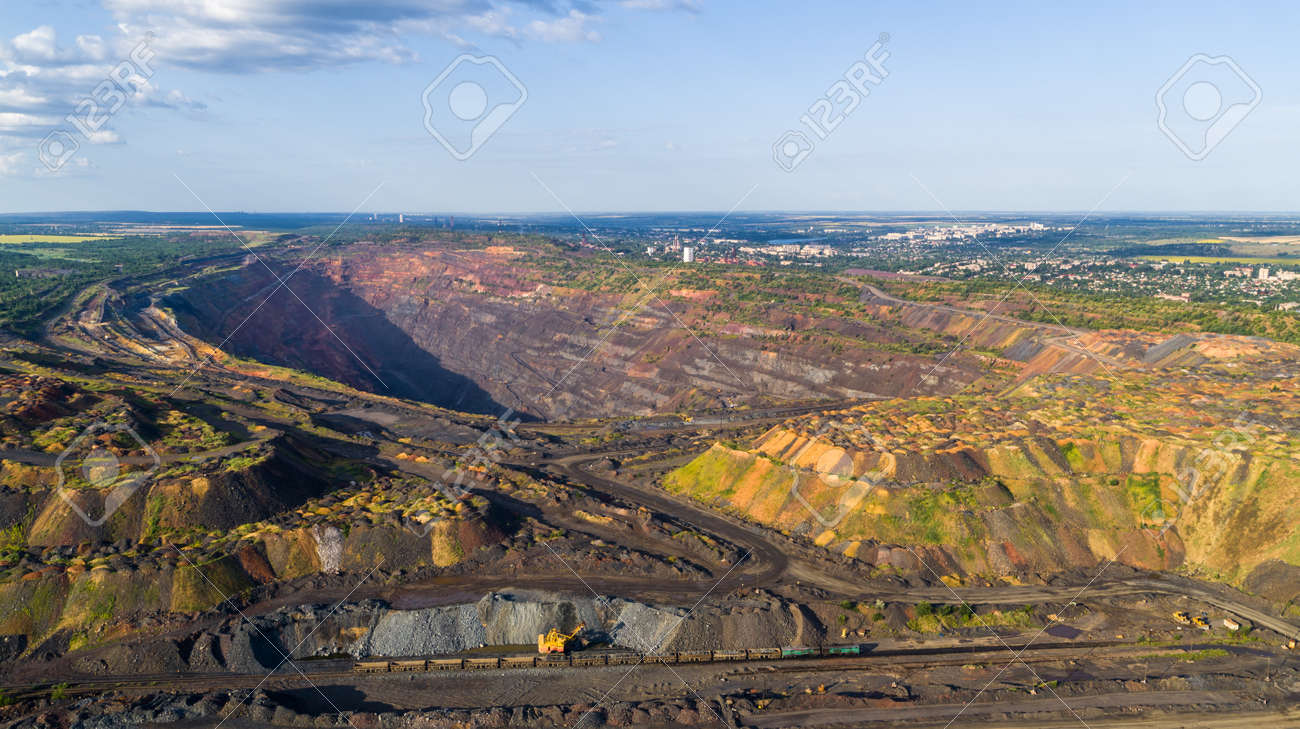 Open Pit Iron Ore Quarry Panoramic Industrial Landscape Aerial View - 172375286