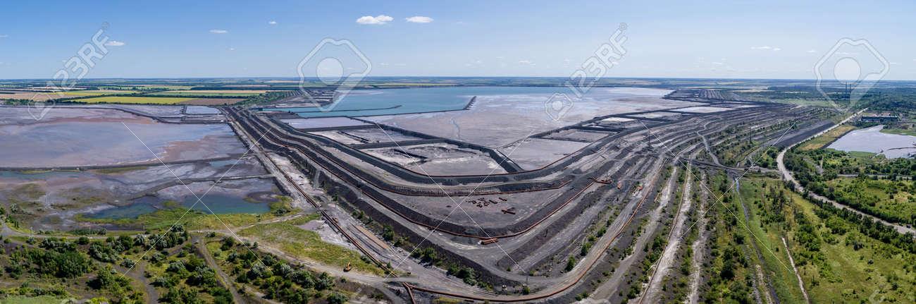 Tailing dump in Kryvyi Rih aerial panorama view - 172375296
