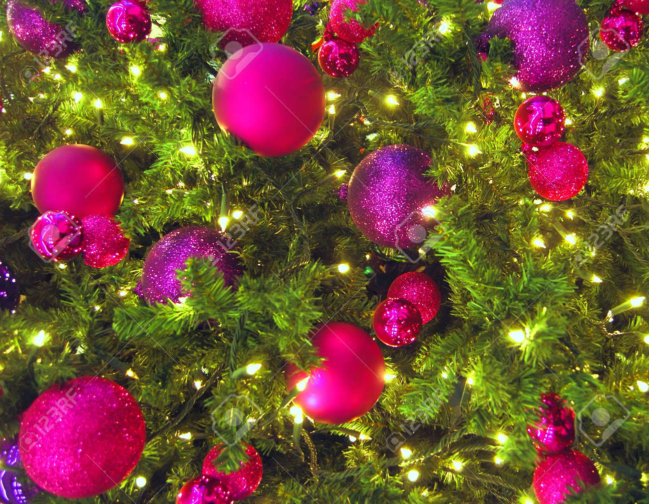 Colorful Christmas Tree Decorations.Close Up Of Colorful Christmas Tree Decorations