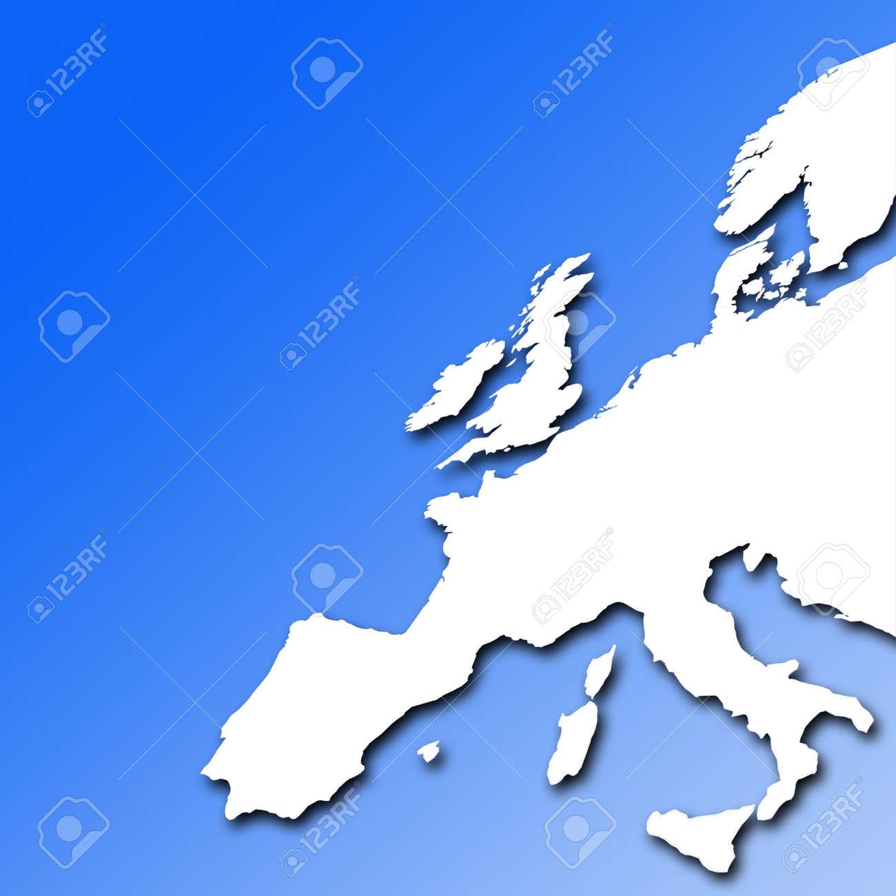Mappa Muta Bianca Delleuropa Su Sfondo Blu Graduato Foto Royalty
