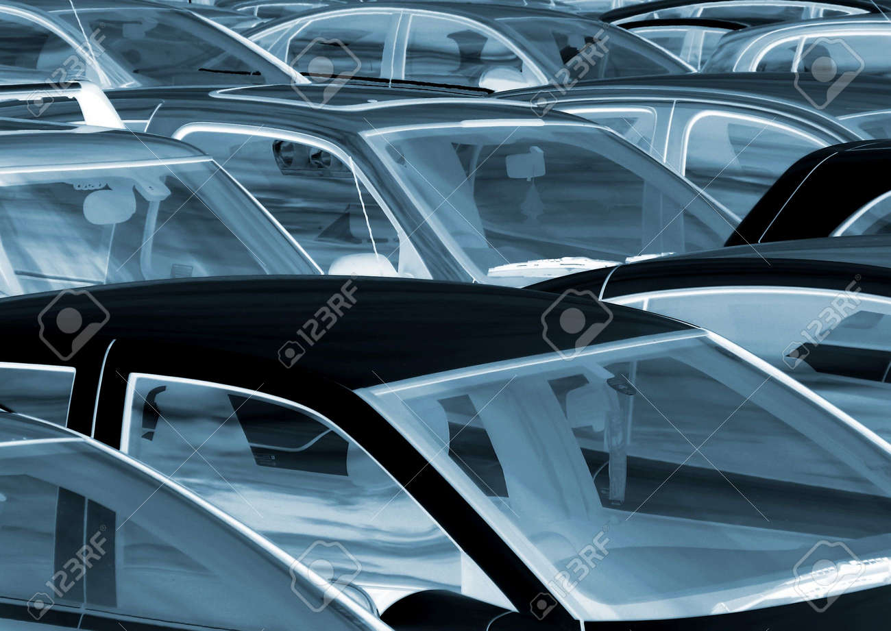 Negative effect applied to cars parked in parking lot Stock Photo - 3550704