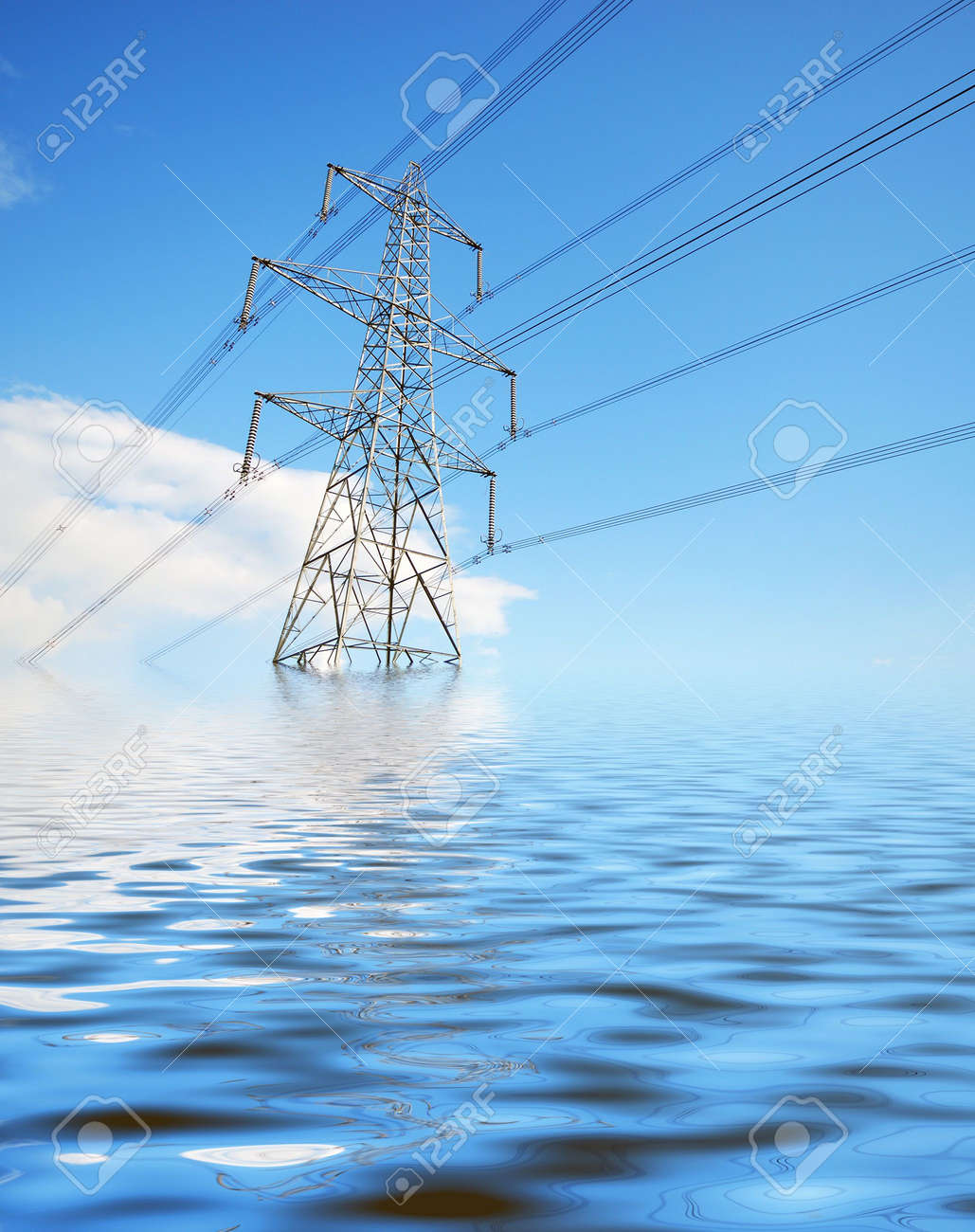 Environmental concept showing electricity pylon under simulated water Stock Photo - 4964161