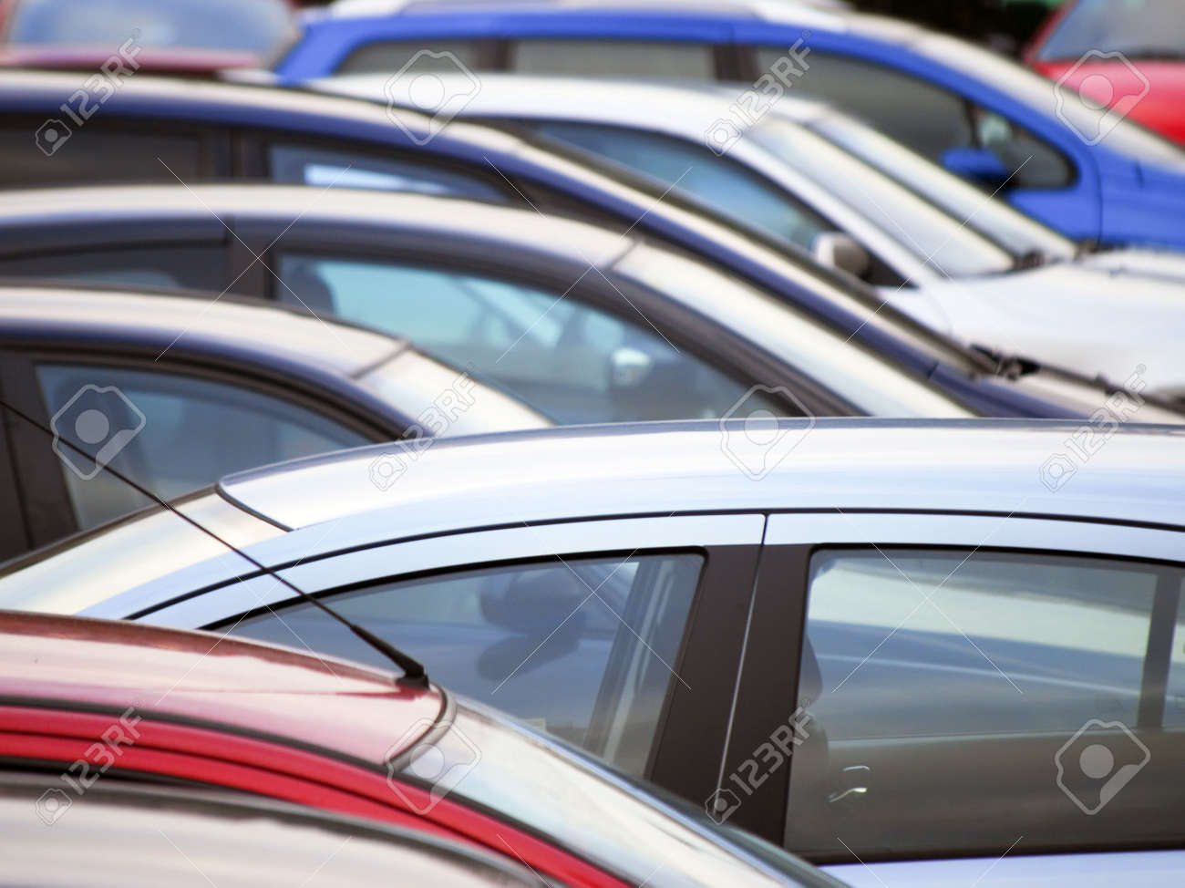 Telephoto view of cars parked in car park Stock Photo - 5402078