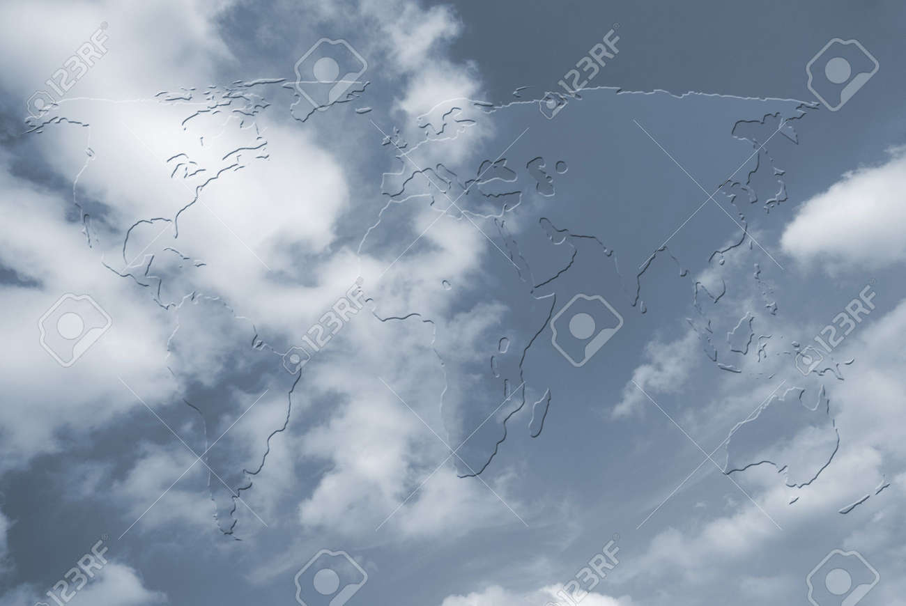 Outline map of world over cloudy sky Stock Photo - 5402100