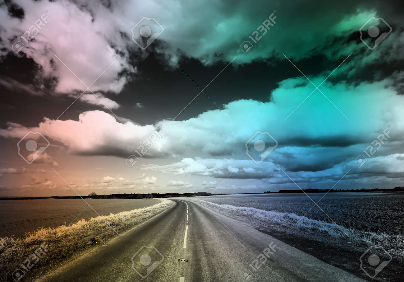 Black and white image of country road with patchy colour overlay stock photo 5903608