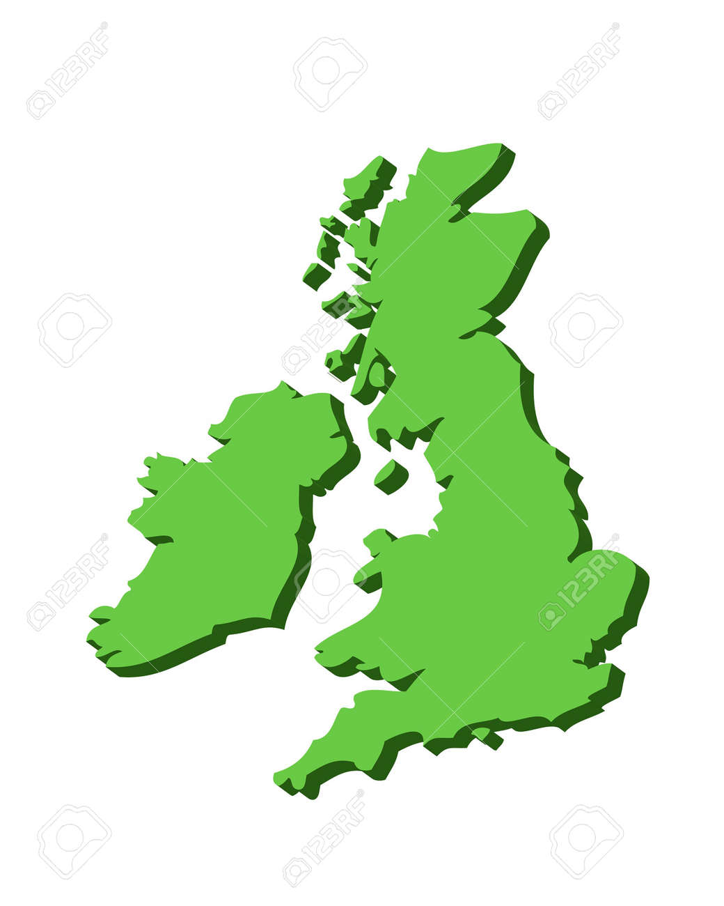 3D Outline Map Of UK And Ireland In Green Photo Picture And – Map Uk Outline