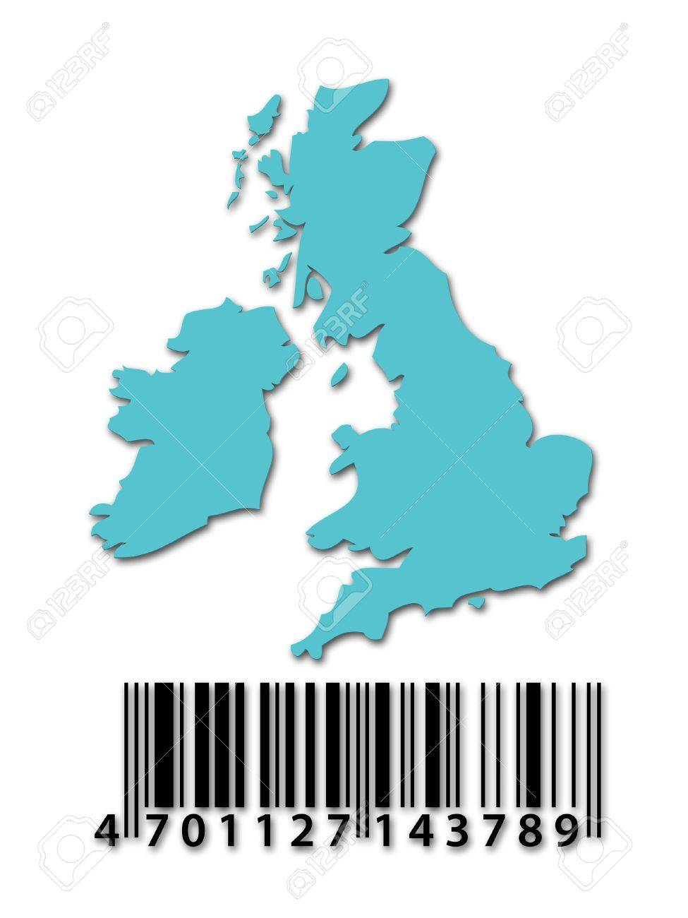 blue outline map of uk with barcode stock photo picture and