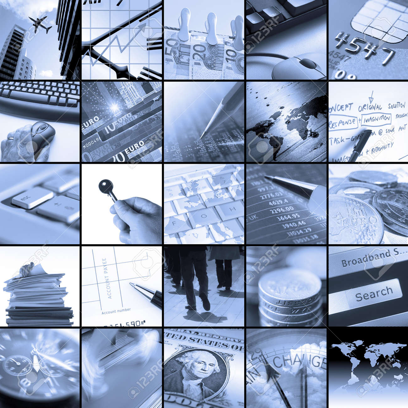 Twenty five blue toned images relating to business Stock Photo - 7051506
