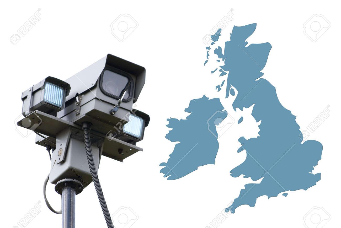 Surveillance Camera Overlooks Outline Map Of UK Photo – Map Uk Outline