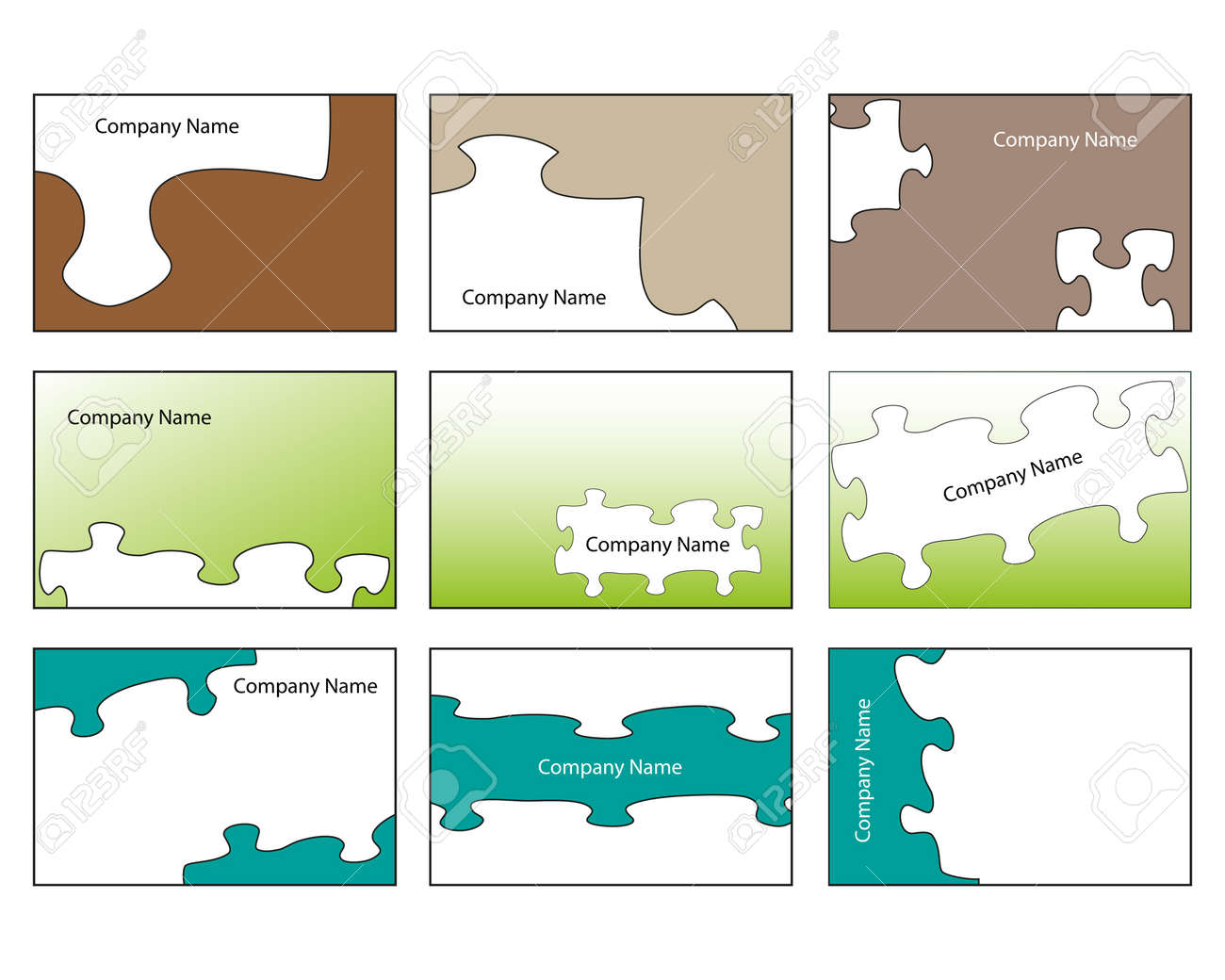 Nine Business Card Blanks Based On Jigsaw Designs Royalty Free ...