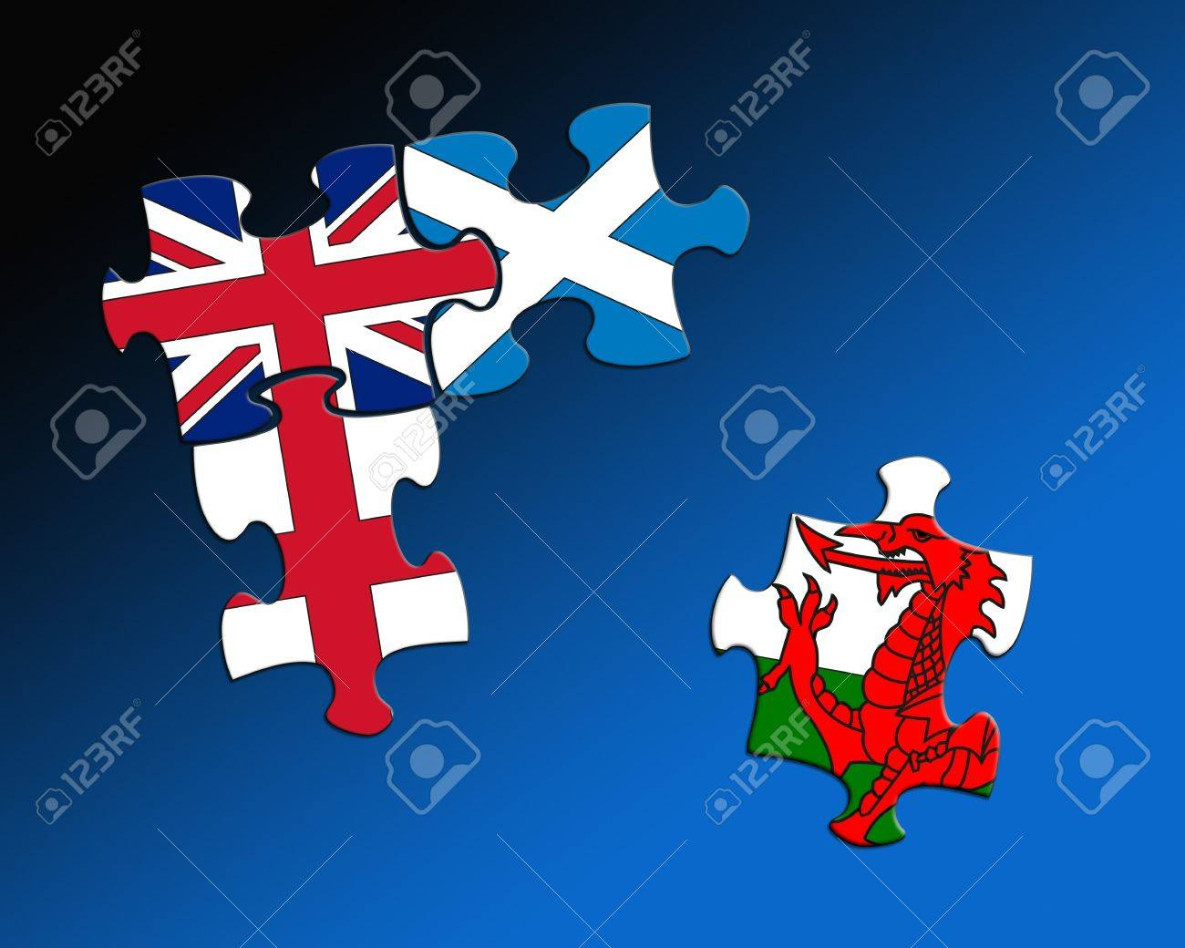 Four jigsaw pieces each filled with the flags of britain scotland four jigsaw pieces each filled with the flags of britain scotland england and wales gumiabroncs Image collections