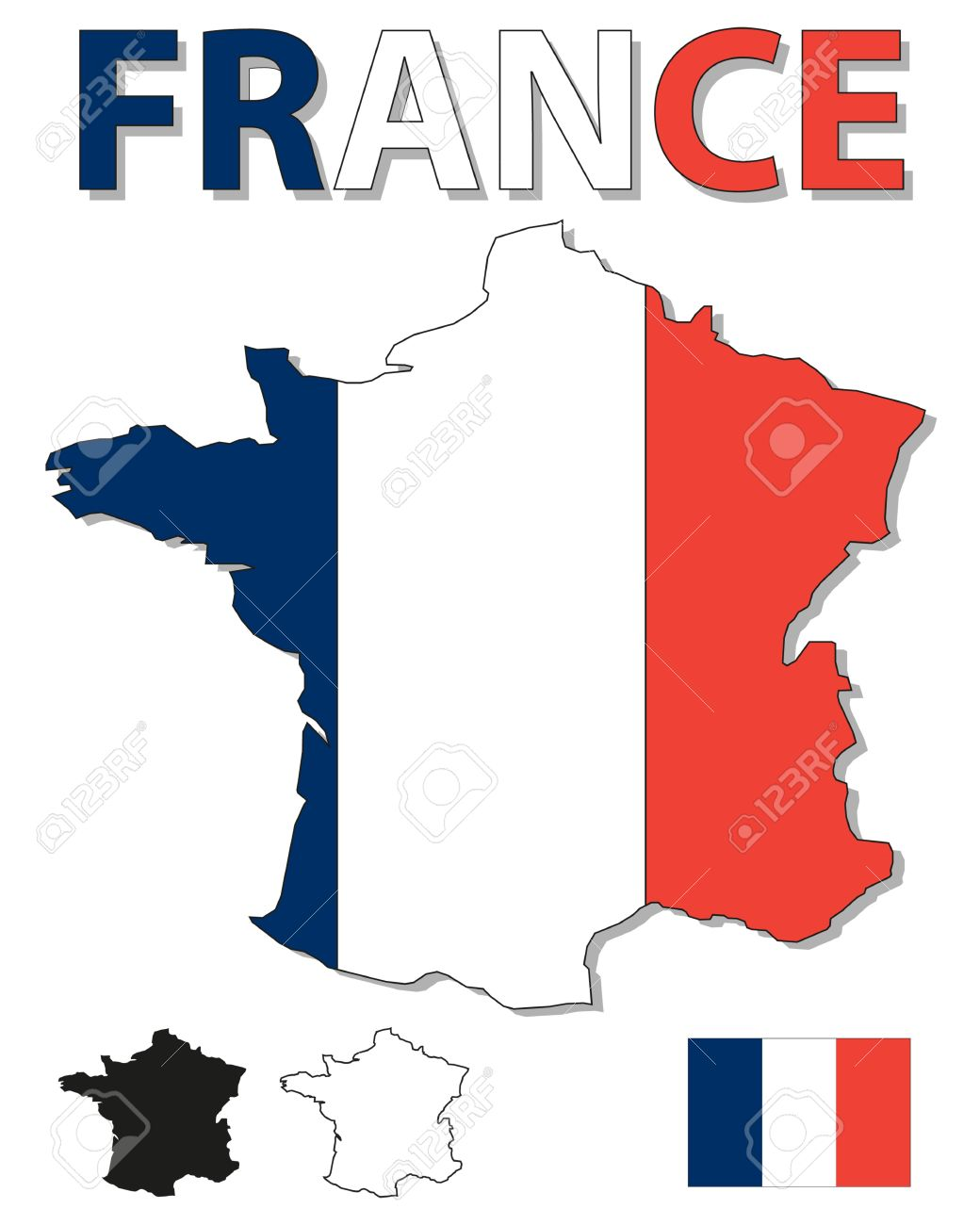 France Map Flag.Outline Map Of France Filled With French Flag Royalty Free Cliparts