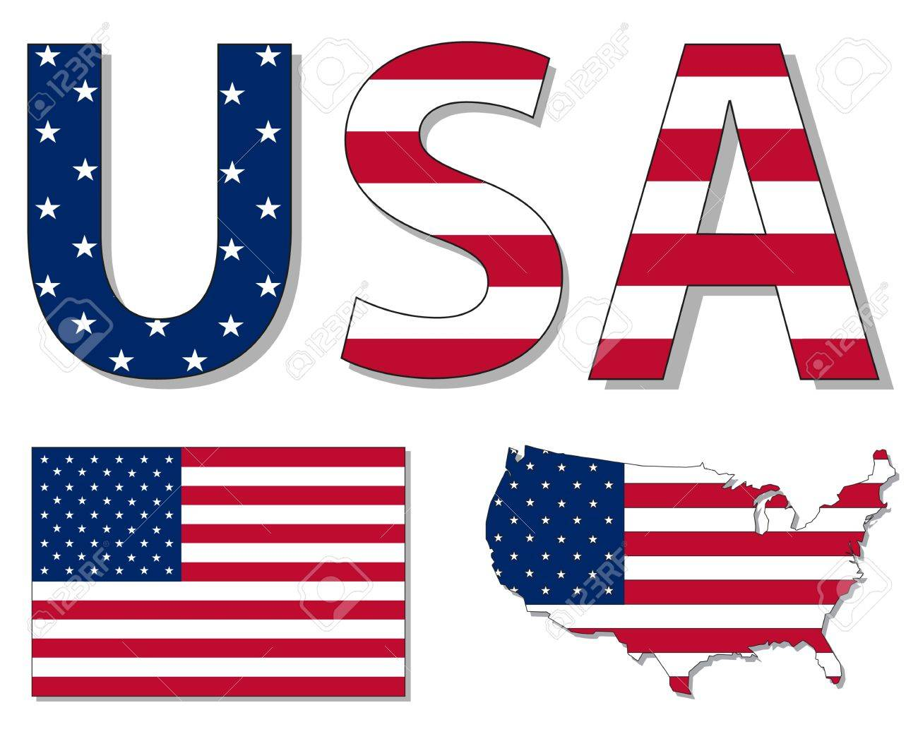 Outline map of USA filled with USA flag Stock Vector - 12483229