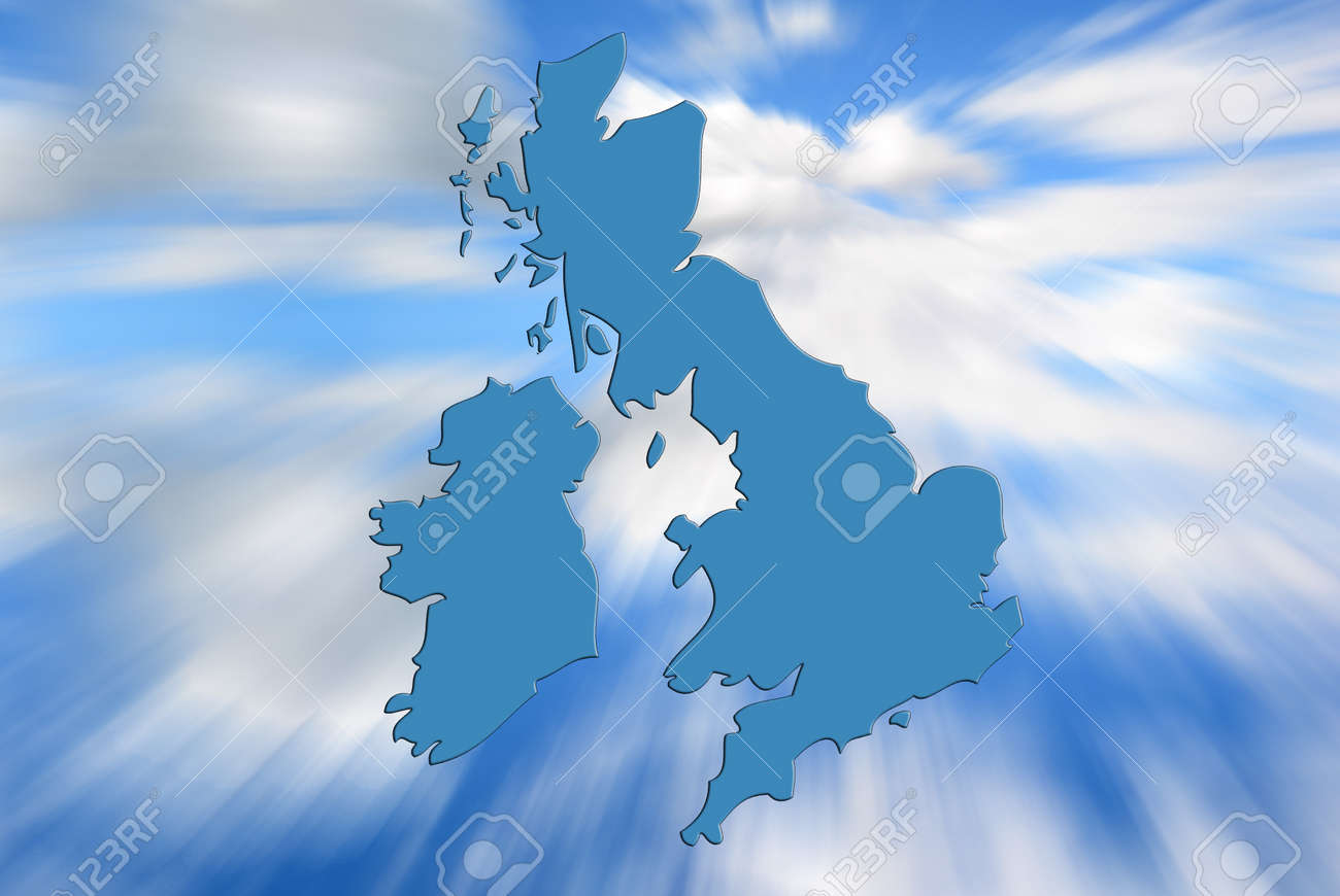 Zoom In Map Of Uk.Outline Map Of Uk And Ireland Over Zoom Sky Pattern Stock Photo