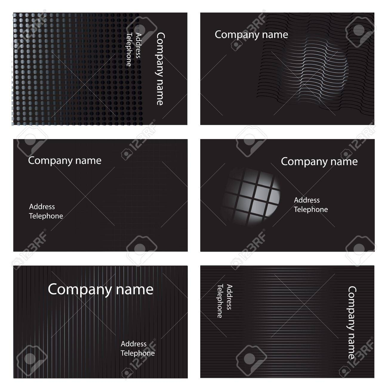 Six White And Black Business Card Designs Royalty Free Cliparts ...