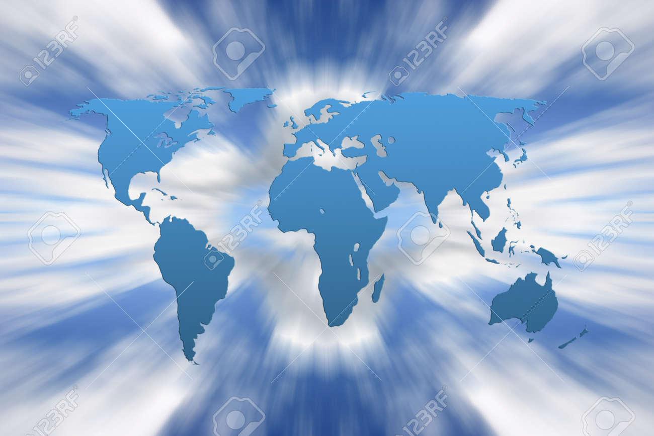 Carte Du Monde Zoomee.Carte Du Monde Se Superpose Sur Ciel Zoomee