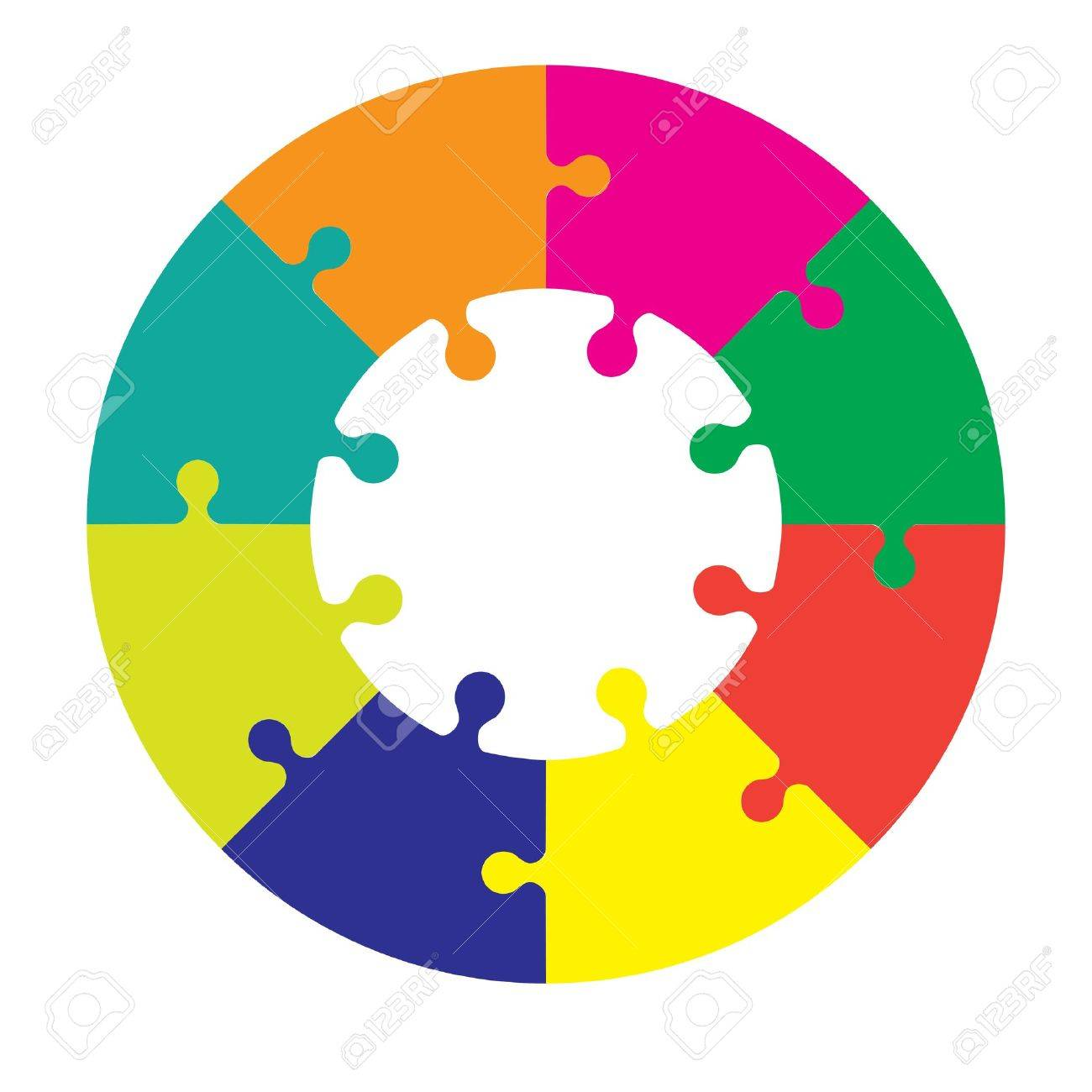 Eight piece jigsaw wheel in different colors Stock Vector - 19985329