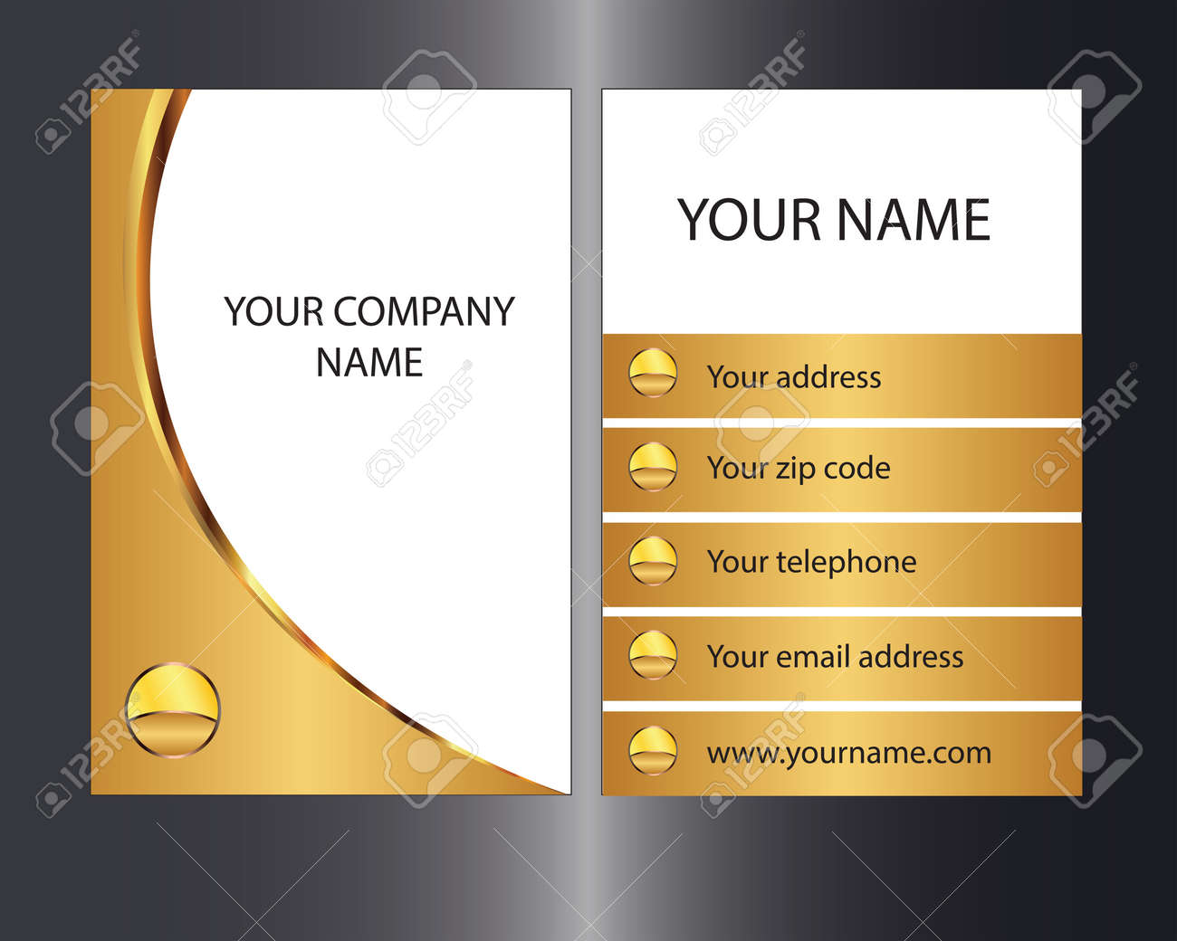 Gold coloured business card with front and back designs royalty free gold coloured business card with front and back designs stock vector 20891096 colourmoves