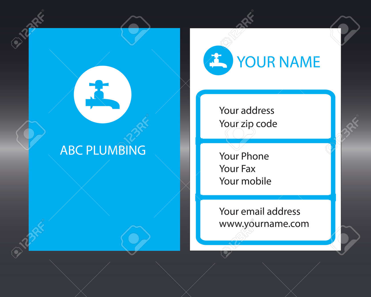 Plumbers business card with front and back designs royalty free plumbers business card with front and back designs stock vector 20891100 colourmoves