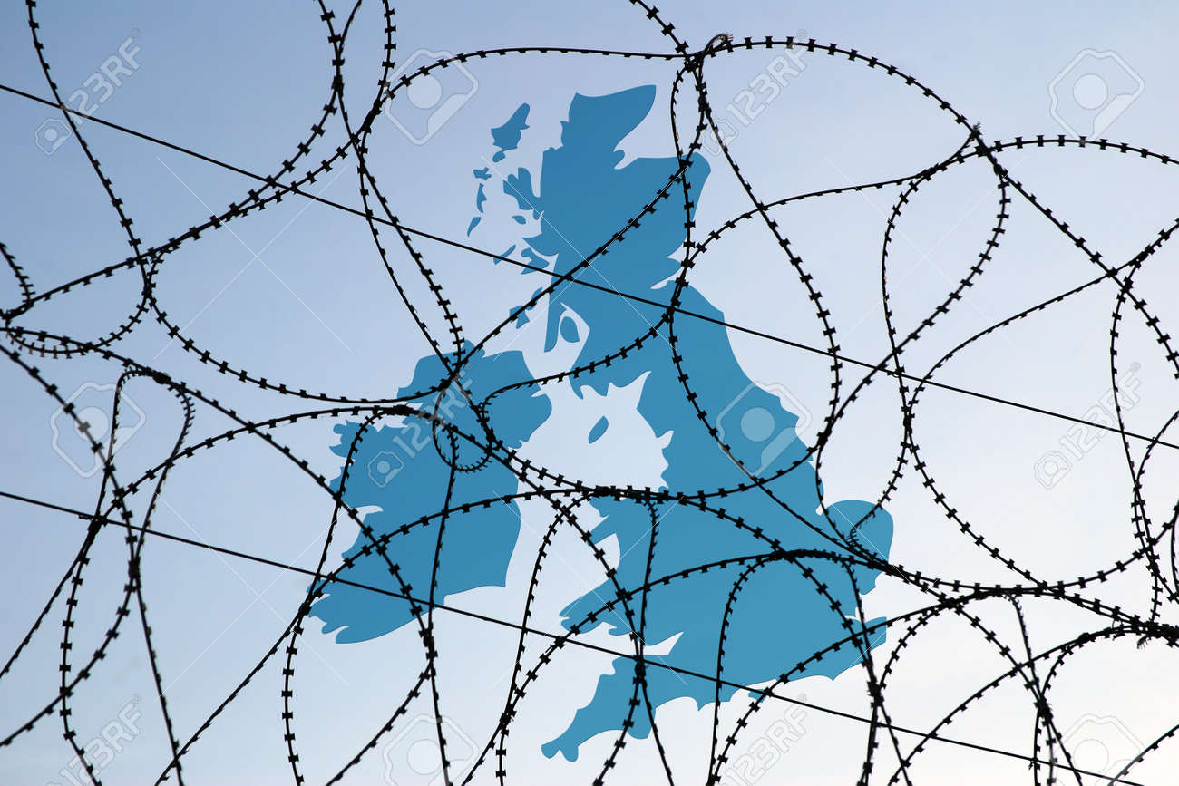Conceptual Image Showing Map Of UK Behind Barbed Wire Barrier ...