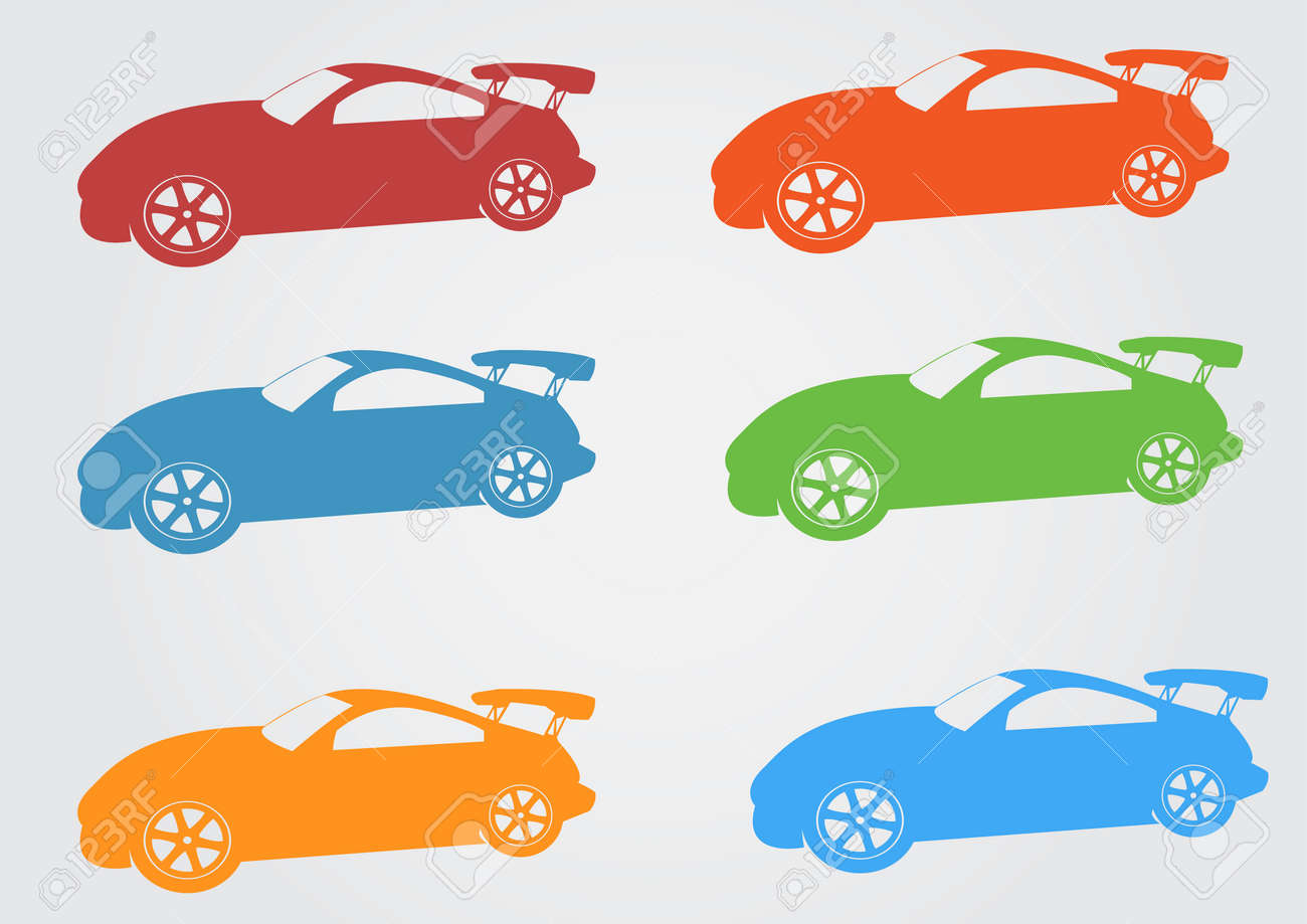Car Icon Design Red Yellow Green Bluecar Symbol And Icon