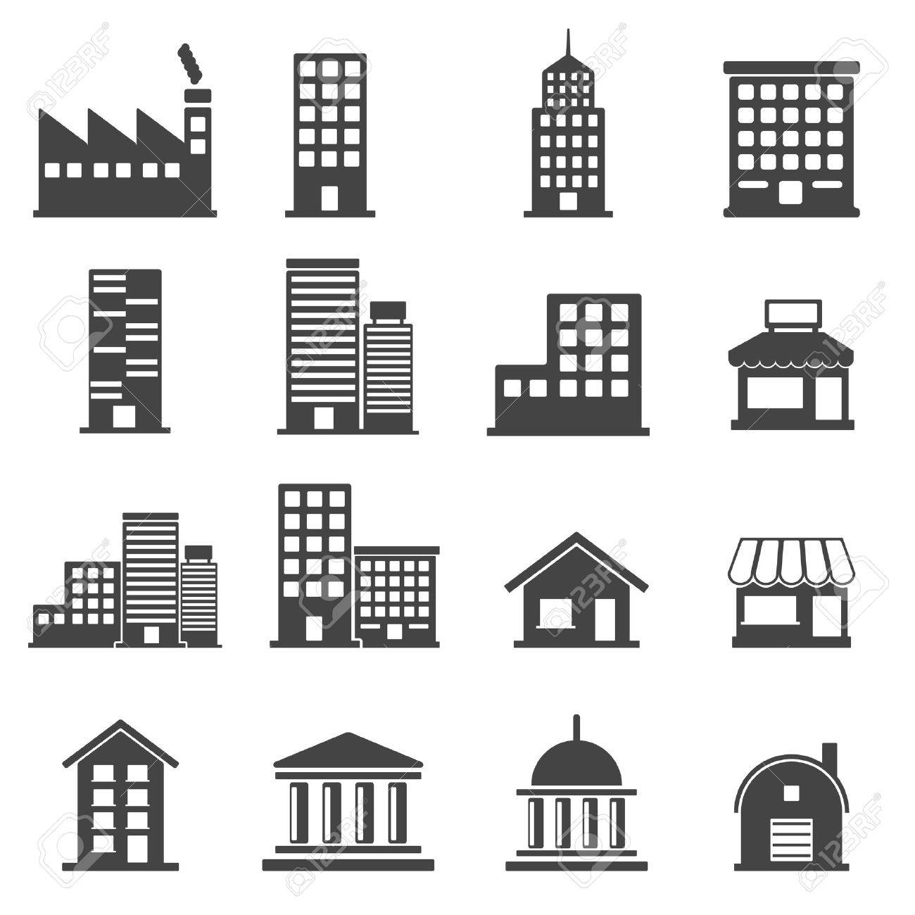 building icons . vector illustration - 53594825