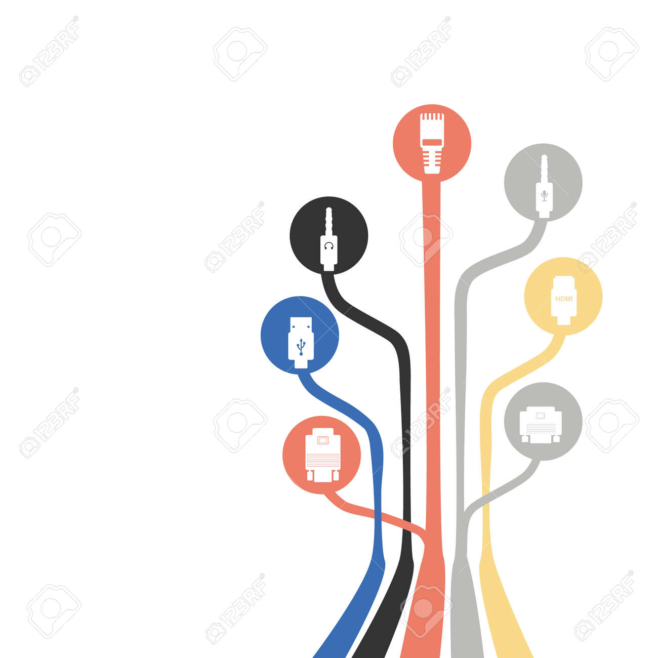 Plug Wire Cable Computer Colorful Abstract Wire Vector Illustration ...