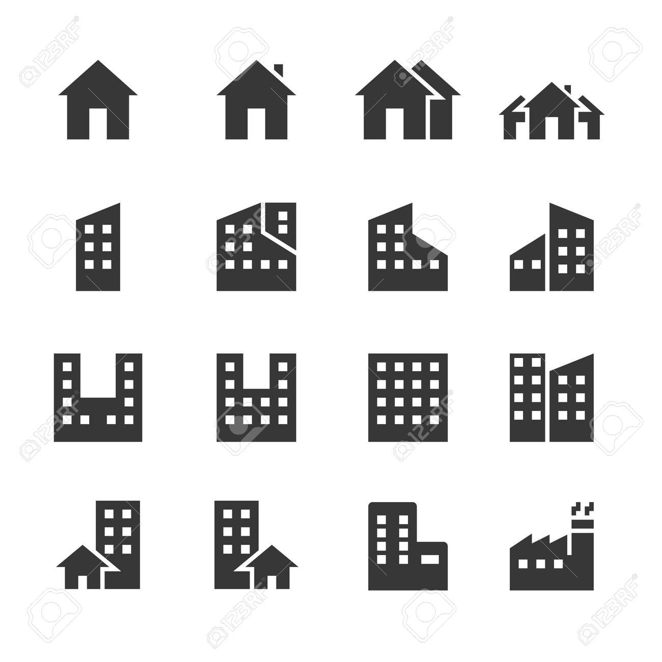 building icons. vector illustration - 134718409